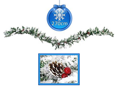 Vetrineinrete Festone Natalizio innevato con Bacche e pigne 270 cm 30 cm Largo Ghirlanda Natalizia Artificiale di Natale 220 Rami con Neve Pino Abete Decorazioni e addobbi Natalizi 58746
