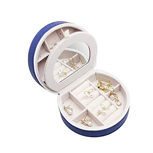 HUI JIN Organizador de pendientes clásico organizador de aparador de doble capa reloj pulsera collar caja de almacenamiento azul marino