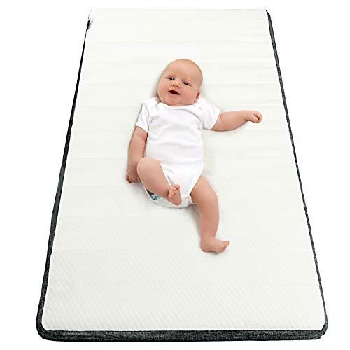 GOPLUS Matratze für Kinderbett, Rutschfeste Kinderbettmatratze aus Schwamm, mit einem abnehmbaren & waschbaren Hygienebezug, Babymatratze, mit Tragetasche, für Zuhause & Reisen, 60x120cm