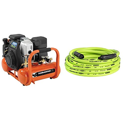 Industrial Air Contractor 4 Gallon Portable Pontoon Air Compressor with 5 HP Honda Gas Engine & Flexzilla Air Hose, 3/8 in. x 25 ft, 1/4 in. MNPT Fittings, Heavy Duty, ZillaGreen - HFZ3825YW2
