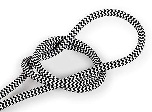 1 meter Strijkijzersnoer Zwart & Wit - rond - zigzag patroon