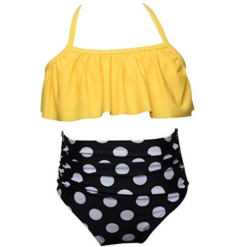 Girls Two Piece Bikini Swimsuit Floral Ruffle Swimwear Flounce Bathing Suit Set 104 Yellow Polka Dot