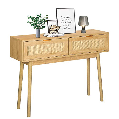 LAZZO 39' Console Table, Oak Grain Sofa Table with Wood Frame, Rustic Hallway Table with 2 Bamboo...