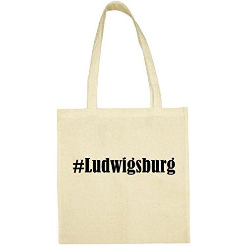Tasche #Ludwigsburg Größe 38x42 Farbe Natur Druck Schwarz