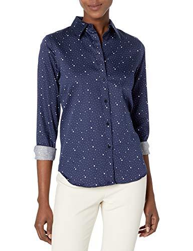 Chaps Women's Long Sleeve Non Iron Cotton Sateen-Shirt, Capri Navy/Pearl, X-Large