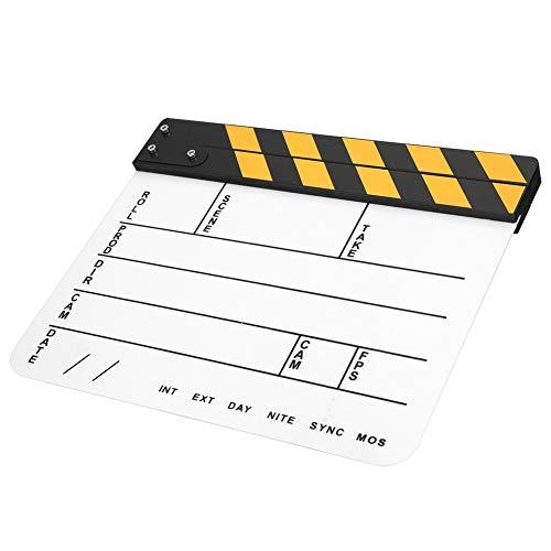 【𝐑𝐞𝐠𝐚𝐥𝐨 𝐝𝐞 𝐍𝐚𝒗𝐢𝐝𝐚𝐝】 Fabricación Profesional, película de Madera Colorida, claqueta de Cine, Sonido Claro y nítido para Recuerdos de películas(Yellow Strip Whiteboard (PAV1YWE4))