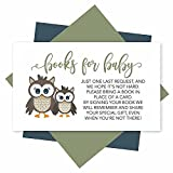 25 Books For Baby Shower Request Cards - Owl Shower Invitation Inserts, Baby Shower Book Request Baby Shower Guest Book Alternative, Bring A Book Instead Of A Card, Baby Shower Book Request