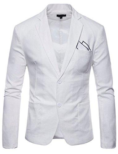 FEHAAN Mens Lightweight Slim Fit Suit Two-Button Casual Linen Coats Jacket White