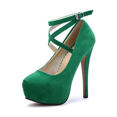 Ochenta, High-Heels-Sandalen für Damen , Grün - Beige Unico Verde - Größe: 41 EU