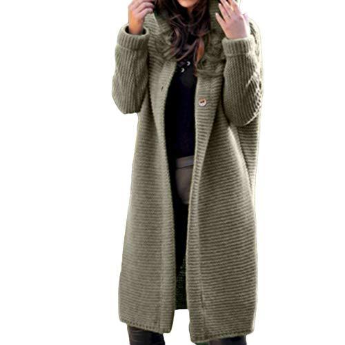 Herbst Cardigan Bluse MYMYG Frauen langärmelige Reine Farbe Cardigan Offene Cardigan Strickjacke Asymmetrisch Strickmantel Strickjacke mit Kapuze Outwear (Grün,EU:42/CN-2XL)