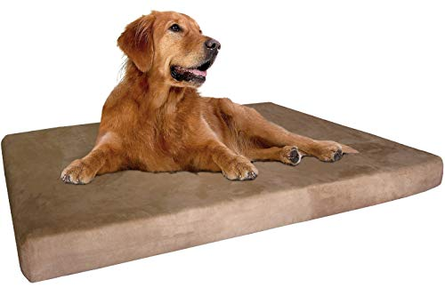 """Dogbed4less Extra Large True Orthopedic Gel Memory Foam Dog Bed, Waterproof Liner and Durable Brown Cover, XL 47X29X4 Inch Fit 48""""X30″ Crate"""