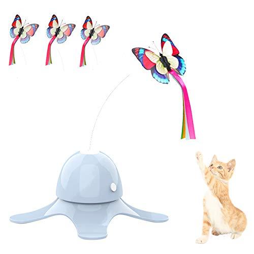 SHUANGJUN Interaktives Katzenspielzeug Elektrischen drehendem Schmetterling Katze Spielzeug mit 3 Stücke Ersatz Blinkende 360° Automatisch rotierende Teaser Spielzeug für Kitten Spielen (Blau)