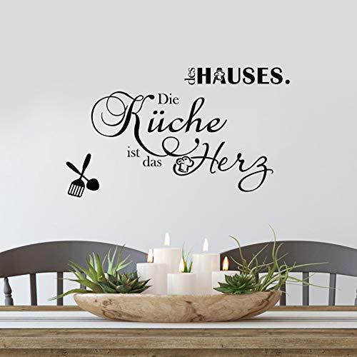 decalmile Pegatinas de Pared Letras y Frases Cocina Vinilos Decorativos Alemán Negro Adhesivos Pared Restaurante Comedor Bar