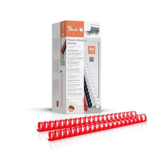 Peach PB422-03 Binderücken, Plastikbindung, DIN A4, Bindekapazität 210 Seiten, 50 Stück Rot