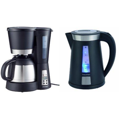 HOME Essentials - Kaffeemaschine KAM-9004 [Mit Timer-Programmierung + Anti-Tropf-Feature, Thermoskanne (1,0 l), max. 800 Watt], HOME Essentials - Wasserkocher WAK-9011 [1,7 l Fasungsvermögen, 360° Sockel, Wasserstandsanzeige mit Lichtindikation, max. 2200 Watt]