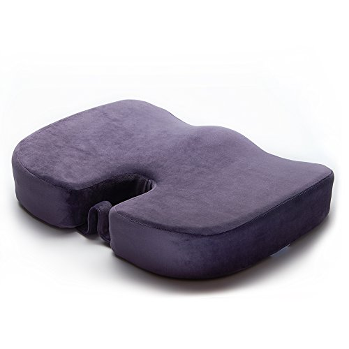 EPMIC Othopädisches Sitzkissen, mit Innovativer Memory Schaumstoff und Anti-Rutsch Abdeckung, ergonomisches Sitzkissen für Auto, Zuhause, Büro, Rollstuhl sowie Reisen, Lila – 47 cm × 36 cm × 8,5 cm
