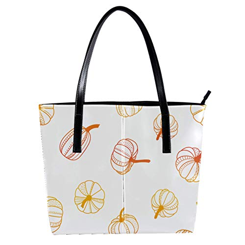 Hand Draw Pumpkin Women's PU Leather Fashion Handbag Top-Handle Shoulder Bags Totes Purses