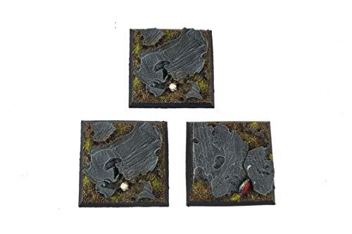 War World Gaming Fantasy Schlachtfeld Felsige Quadratische Miniatur Basen x 3 (50mm) - 28mm Fantasie Tabletop Spiele Gelände Modellbau Modell Figuren Malen Wargame Kriegspiel