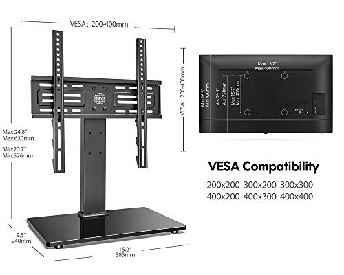 FITUEYES Universal TV Stand Table Top TV Stand for 27-55 inch LCD LED TVS Height Adjustable TV Base with Tempered Glass Base Wire Management VESA 400x400mm Holds up to 88 Pounds