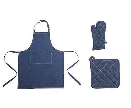 i.stHOME Schürze Jeans blau Bistro Kochschürze mit 2 Taschen Unisex im Set mit 1 x Ofenhandschuh, 1 x Topflappen