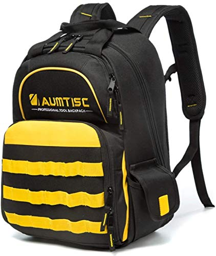 Tool Backpack Heavy Duty Jobsite Backpack Tools Bag with Multi-Use Pocket Industrial & Construction Work Backpack Yellow