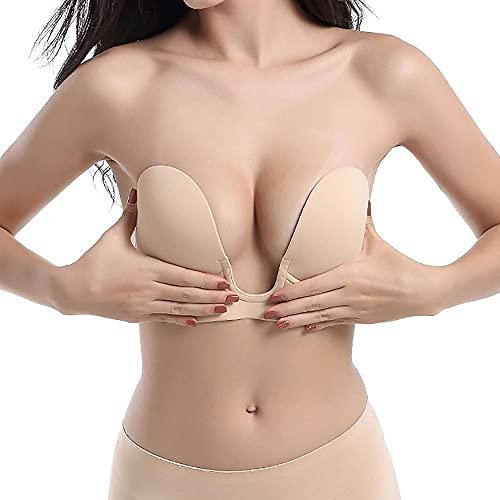 KJSDHAE Reggiseno da donna a forma di U push-up Backless adesivo senza spalline invisibile push up Reggiseni in silicone, reggiseno adesivo a basso taglio riutilizzabile-Nude_A