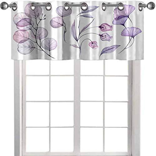 YUAZHOQI - Cenefa de cocina transparente con diseño floral aislado en blanco, colección de rosas de campanario, hojas de branc de 106,7 x 45,7 cm para ventanas