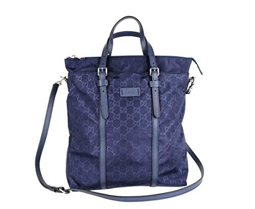 Gucci Unisex Dark Blue Nylon Tall Tote Messenger Bag 510333 4275