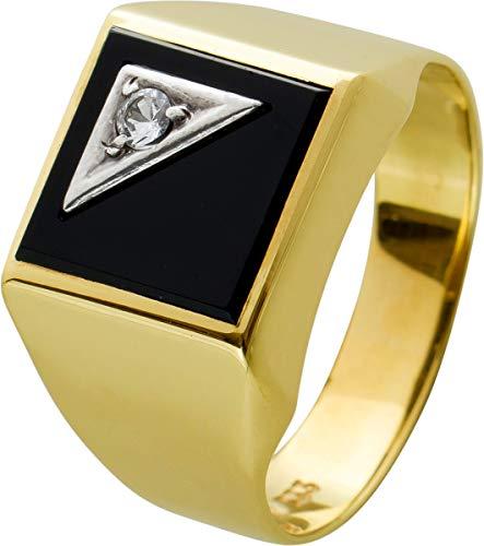 Antiker Herrenring 60er Jahre Gelbgold 333 tiefschwarzer Onyx Edelstein mit funkelndem Brillant 1