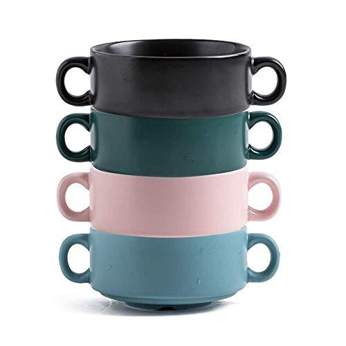CHUTD Tazones para Sopa de 15 onzas con Asas, Juego de 4, tazones Coloridos apilables de Porcelana, Aptos para microondas y Horno, diseño Elegante, para Sopa de Cebolla y Cereales