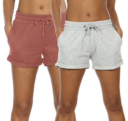 icyzone Workout Lounge Shorts for Women - Athletic Running Jogging Cotton Sweat Shorts (M, Dusty Pink/Light Gray)