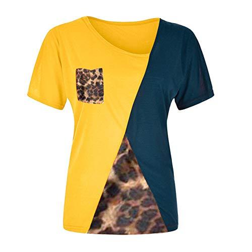 Camiseta Mujer Regular Fit Manga Larga/Manga Corta Empalme Cuello En V Tops Mujer Moda Cómodo Suave Casual Tops Mujer Elegante Blusa Chic Mujer F-Yellow XL