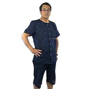 甚平 じんべい 素材の 全開 ヘンリーネックシャツ+ハーフパンツ 甚平シャツセット メンズ ヘンリー ネックシャツ かすり縦縞や小格子等M~4Lサイズ C31732-02・色絣縦じま・濃紺 4L(180-195cm)/胴囲104~118