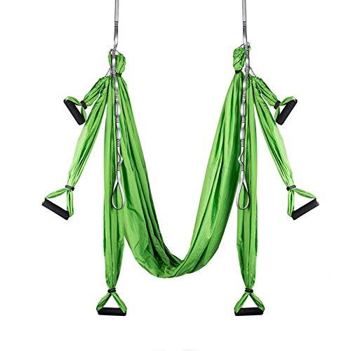 WOERD Kit trapecio para yoga y columpio de interior, para deportes, hamacas de yoga aéreas, ejercicios de inversión, con 2 correas de extensión, color verde