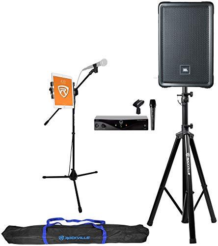 JBL IRX108BT 8  1000w Bluetooth Karaoke Machine System+Stands+AKG Wireless Mic