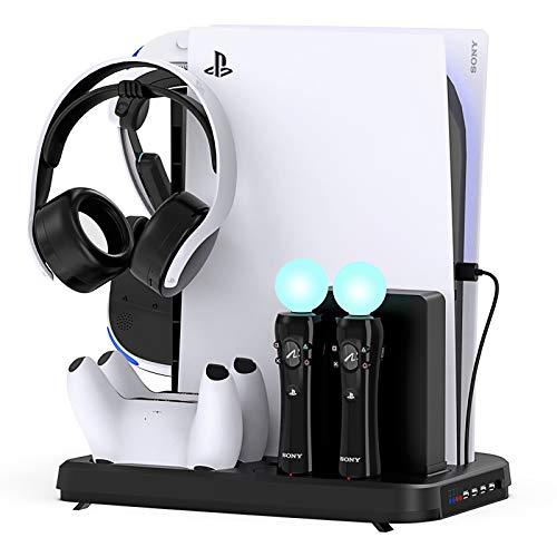 FYOUNG - Soporte vertical para PS5 Digital Edition/Ultra HD Consola con Cooling Fan y Controller Cargador Station Soporte de Carga Pantalla para PS5 VR Playstation