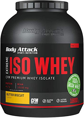 Body Attack Extreme Iso Whey, Whey Protein Pulver zum Muskelaufbau aus 100% irischer Weidemilch, fettarmes Eiweißpulver ohne Aspartam (Butter Biscuit, 1,8 kg)
