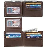 BSWolf Men Genuine Leather RFID Blocking Bifold Wallet