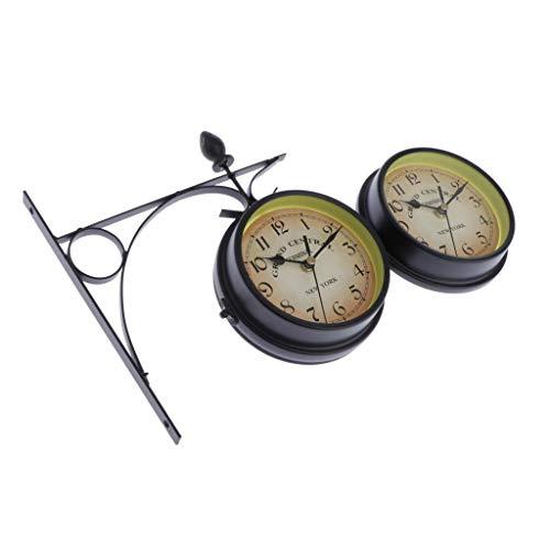 PETSOLA Wanduhr Bahnhofsuhr Gartenuhr Retro Vintage Antik Uhr - Schwarz