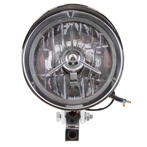 H HILABEE Lámpara de Faro Delantero Cromado de Motocicleta de 4,5'12V para Bobber Chopper