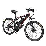 Bicicleta de montaña eléctrica de 26 ', bicicleta eléctrica MTB de 1000 W para hombres, batería eléctrica para ciudad, bicicleta híbrida para nieve ( Color : Rojo , Number of speeds : 21 )