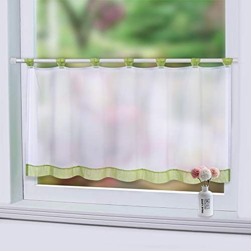 LinTimes Sheer Cafe Curtain Window Tier Curtain, Tab Top Voile Window Curtain, Tier Half Window Treatment for Kitchen Bathroom Living Room, Green, 45 * 90 cm