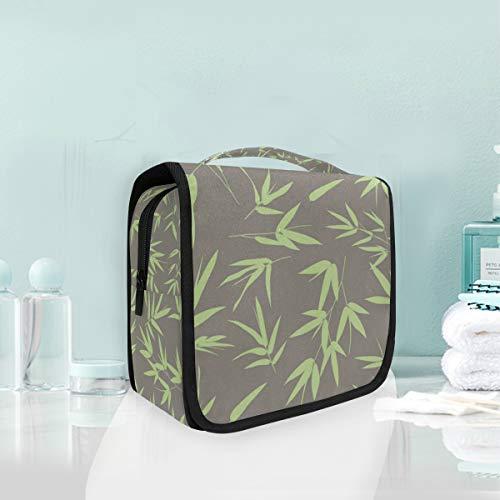MONTOJ Grande trousse de toilette à suspendre Motif feuilles de bambou imperméable Voyage espace cosmétique Sac organiseur multifonction