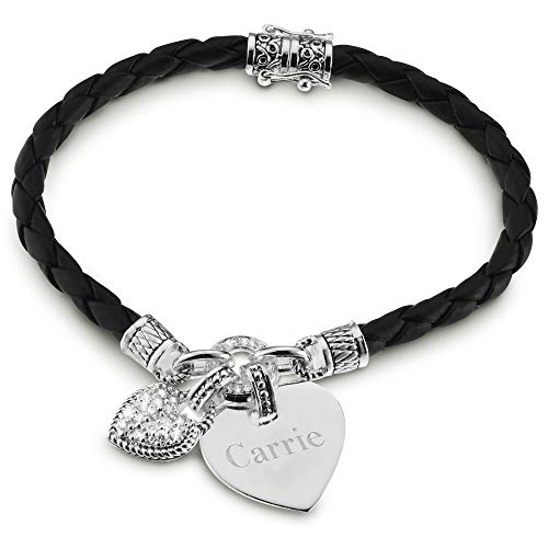 Things Remembered Personalized in My Heart Black Braided Leather Bracelet with Engraving Included