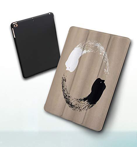 Funda para iPad 9,7 Pulgadas, 2018/2017 Modelo, 6ª / 5ª generación,Ilustraciones abstractas de Yin y Yang de una de los Retratos Humanos de armonía YOG Smart Leather Stand Cover with Auto Wake/Sleep