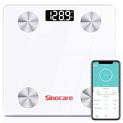 sinocare Pèse Personne Impédancemètre, Balance Connectée Bluetooth Electronique pese personne avec 12 Données Corporelles (BMI/Muscle/Graisse Corporelle/Masse Osseuse)