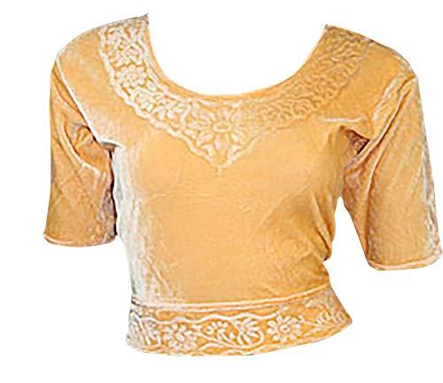 Trendofindia Apricot Choli (Sari Oberteil) Samt Gr. 44/46 / Gr. XL ideal für Bauchtanz