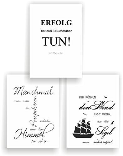 greenluup 3er Set Poster Spruch A4 Sprüche Wandbild (P5) Zitate Sprüche schwarz weiß Goethe Arbeit Büro Erfolg Motivation