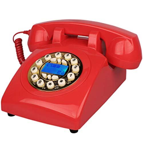 VERDELZ TeléFono Retro, TeléFono Antiguo, DecoracióN De La Oficina En El Hogar, TeléFono Fijo, Rojo (LíNea TelefóNica Receptora)