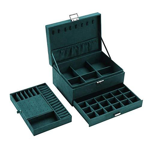BAWAQAF Caja de joyería,Organizador de joyas de franela verde de 3 capas,Collares pendientes anillos soporte de exhibición,Caja de almacenamiento de gran capacidad para mujeres